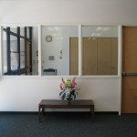 This is a view of the office which looks out into the classroom.