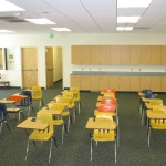 Another view of the classroom with ample countertop space at the rear.