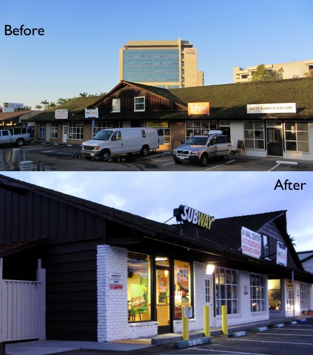 349 Old Newport in Newport Beach, CA, received some exterior work in preparation for a Subway Franchise.