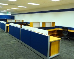 New, upgraded finish cubicles feature the corporate colors.
