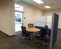 There are several areas throughout the office that allow for collaboration.